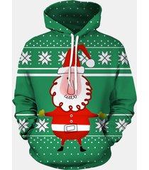 felpe con cappuccio da uomo 3d print christmas babbo natale funny felpe con cappuccio xmas fancy men hooded pullover