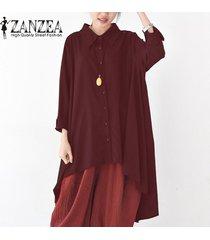 zanzea botones de manga larga para mujer camisa casual tops blusa asimétrica de solapa plus -rojo