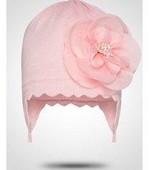 czapka dla dziewczynki z kwiatem i wiązaniem