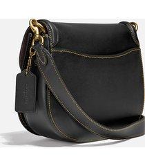 coach women's beat saddle bag - black