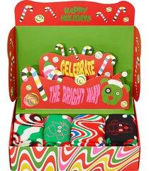 strumpor 4-pack psychedelic candy cane socks gift set