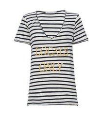 t-shirt feminina listrada locals only - branco
