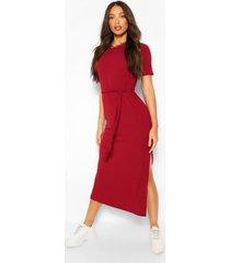 tall soft rib belted midi dress, berry