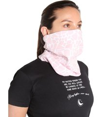bufanda proteccion estampado mini print color rosado, talla m