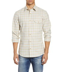 men's nordstrom trim fit check flannel button-up shirt, size large - ivory