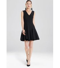 knit crepe flare dress, women's, black, size 8, josie natori
