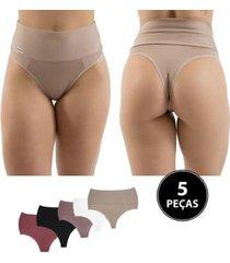 kit calcinha cinta 5 peças diluxo bege - feminino