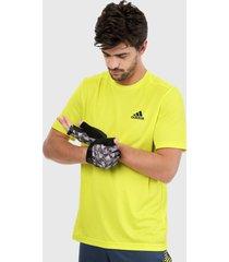 camiseta amarillo neón- negro adidas performance aeroready designed