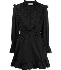 dondup embroidered poplin dress - black