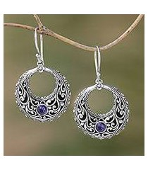 amethyst dangle earrings, 'violet swirls' (indonesia)