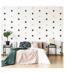 adesivo de parede cruz preto e rosa 9x9cm 69un cobre 4m²
