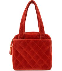 chanel pre-owned 1996-1997 diamond quilted tote bag - red