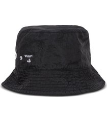 off-white bucket hat in black nylon with logo