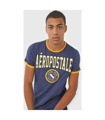 camiseta aeropostale bordada azul-marinho/amarelo
