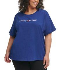 tommy hilfiger sport plus size crewneck logo t-shirt
