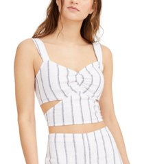 bar iii striped cutout crop top, created for macy's