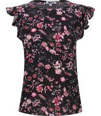 blusa m/c arandelas flores color negro, talla s