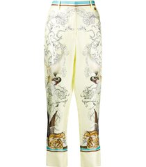 roberto cavalli hybrid animals printed trousers - yellow