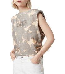 women's allsaints coni tie dye shoulder pad cotton muscle tank top, size medium - beige