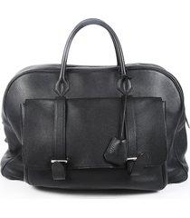 hermes sac de voyage steve 45 black clemence leather travel bag black sz: e