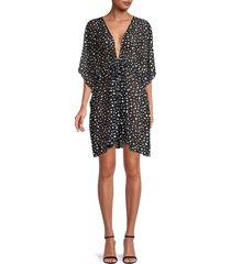 gottex women's print tie-waist coverup dress - black white - size s