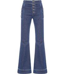 calça feminina flare pocket - azul