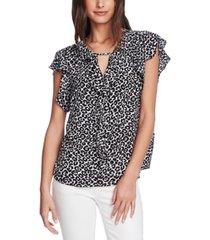vince camuto printed flutter-sleeve blouse
