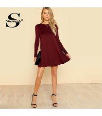 vestido sheinside estilo swing color vino