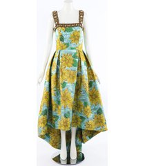 andrew gn sunflower brocade gown blue/floral print sz: m