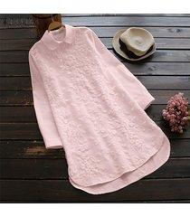 zanzea camisa casual de ganchillo de manga larga para mujer tops botones asimétricos blusa de plumas tallas grandes -rosado