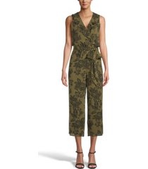 bar iii printed ruffled jumpsuit, created for macy's