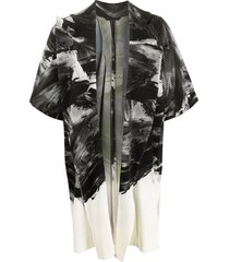 homme plissé issey miyake oversized pleated coat - black