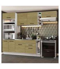 cozinha completa madesa agata 290002 com armário e balcão (sem tampo e pia) branco/carvalho branco/carvalho
