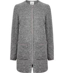abrigo jacqueline de yong besty pocket zip gris - calce regular