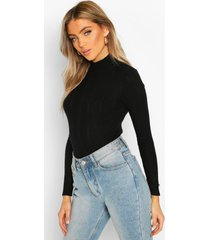 pointelle turtle neck knitted top, black