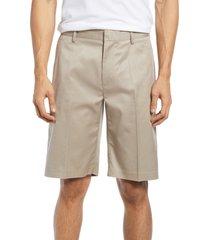 men's nordstrom non-iron stretch cotton shorts, size 28 - brown