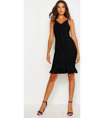 tall strakke midi jurk met geplooide zoom, zwart