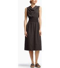 barre striped drape collar dress