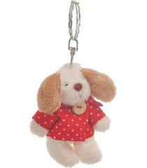 chaveiro cachorro bege de natal cor vermelho metal 6x4 cm - bege/vermelho - dafiti