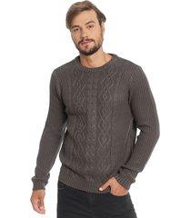 sweater d/struct cable jump gris - calce holgado