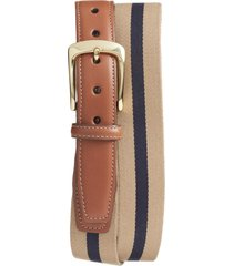 men's big & tall torino european surcingle belt, size 46 - camel/ navy
