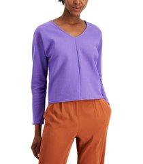 alfani v-neck ribbed-knit top, created for macy's