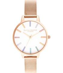 olivia burton women's rose gold-tone stainless steel mesh bracelet watch 34mm