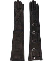manokhi textured buckled gloves - black