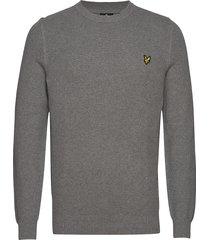 grid stitch jumper gebreide trui met ronde kraag grijs lyle & scott