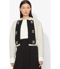 proenza schouler bonded boucle tweed jacket ecru/white 4