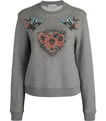 rose & bird graphic sweatshirt