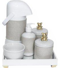 kit higiene espelho completo porcelanas, garrafa e capa ursinho dourado quarto bebê unissex