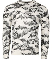 gothic print sweater natural white and black