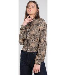 jaqueta bomber feminina estampada animal print com zíper bege